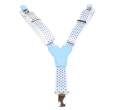 Boy's Sky Blue Elastic Braces with Brown Dots