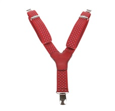 Boy's Garnet Elastic Braces with Grey Dots
