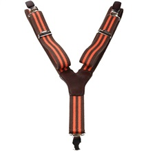 Boy's Elastic Braces with Orange and Brown Stripes