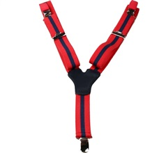 Boy's Red Elastic Braces with Blue Stripes
