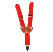 Boy's Red Teddy Bear Elastic Braces