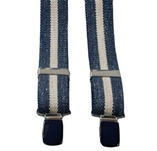 Boy's Jeans Elastic Braces with Linen Stripe