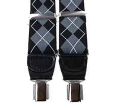 Black and Grey Argyle Diamond XXL Braces