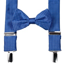Royal Blue with Dots Braces and Bow Tie