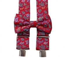 Red Paisley Braces and Bow Tie