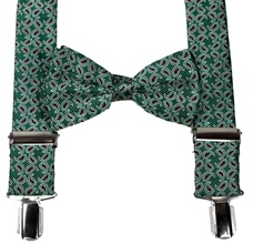 Green Paisley Braces and Bow Tie