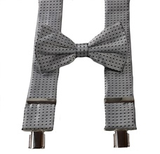 Grey with Black Dots Braces and Bow Tie