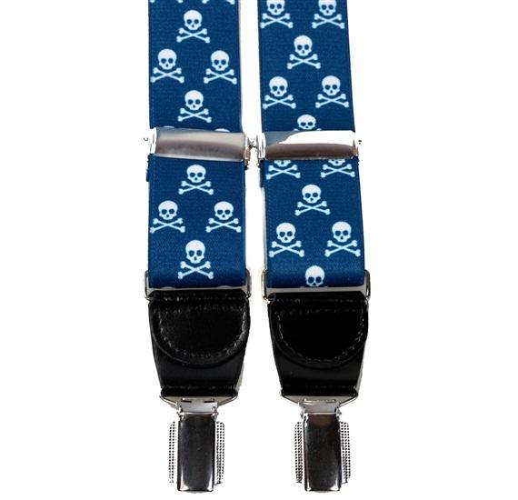 5ce7a314d Tirante elastico piel azul con calaveras blancas - Comprar en tienda ...