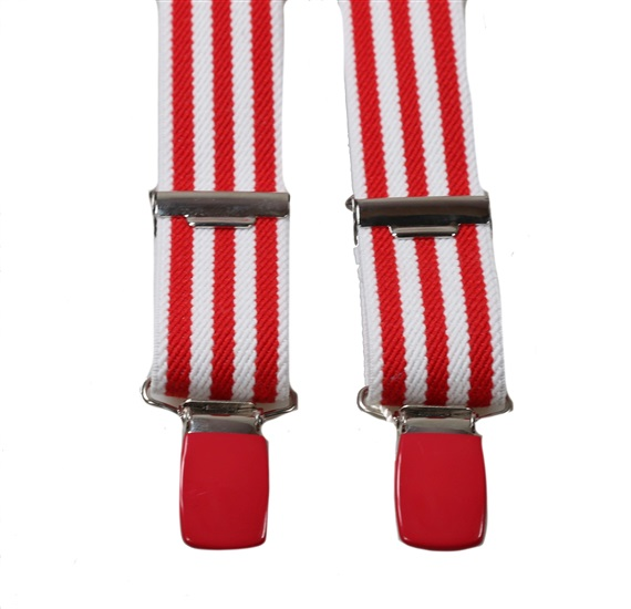 Boy's Elastic Braces with Red and White Stripes E