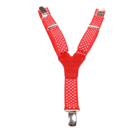 Boy's Red Elastic Braces with Beige Dots