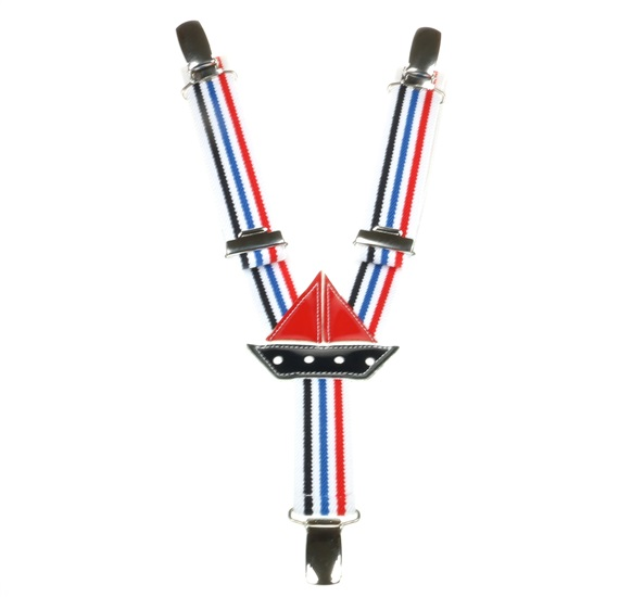Boy's Red, Blue and White Stripes Elastic Braces