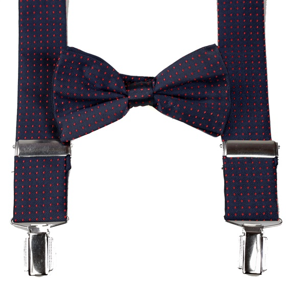 Dark Blue with Red Dots Braces and Bow Tie